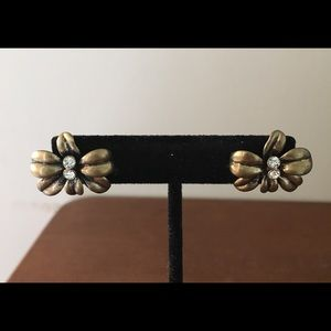 J.Crew Crystal Gold Floral Stud Earrings